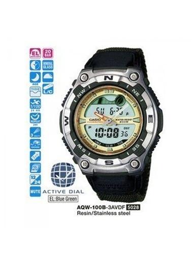 Casio Outgear Aqw100B3Avdf Kumaş Kayış Ik Kadran Su Geçirmez Erkek Dijital Kol Saati Yeşil